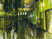 Hofeinfahrt, Düster, Beleuchtung, Ölmalerei