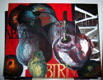 Birne, Acrylmalerei, Schrift, Malerei