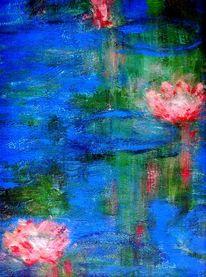 Seerosen, Teich, Acrylmalerei, See