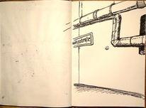 Straße, Tiefgarage, Zeichnung, Einbahnstraße
