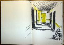Angst, Gang, Zeichnung, Tür