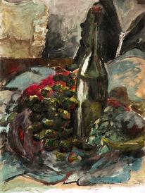 Acrylmalerei, Tuch, Stillleben, Flasche