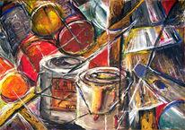 Malerei, Pastellmalerei, Holz, Linie