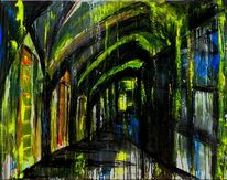Acrylmalerei, Gelb, Schwarz, Stadt
