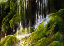 Wasserfall, Licht, Acrylmalerei, Moos