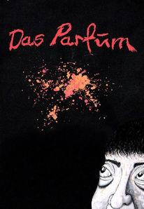 Malerei, Rot schwarz, Parfüm, Weiß