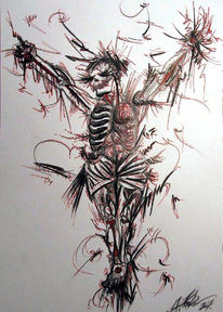 Skizze, Skelett, Schmerz, Grafik