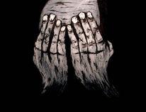 Hände, Surreal, Malerei, Schwarz