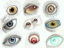Augen, Psychedelisch, Zeichnung, Zeichnungen