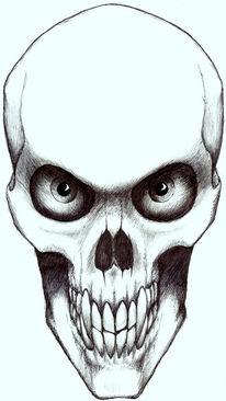 Psychedelisch, Kugelschreiber, Zeichnung, Schädel