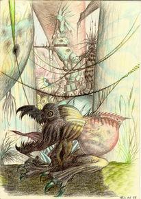Monster, Baum, Tempel, Zeichnungen