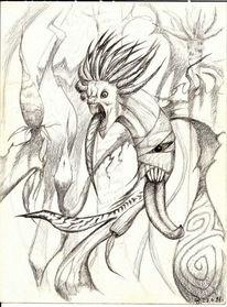 Monster, Scurril, Bleistiftzeichnung, Zeichnungen