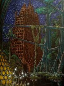 Tempel, Pflanzen, Stern, Wasser