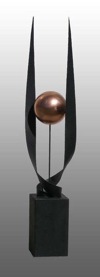 Skulptur, Eisen, Kupfer, Abstrakt