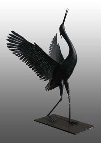 Skulptur, Handgeschmiedet, Eisen, Kranich