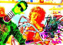 Neon, Digital, Herz, Abstrakt
