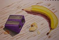 Anschärfer, Obst, Zeichenutensilien, Banane