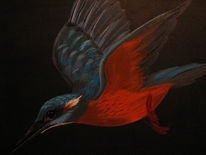 Eisvogel, Malerei, Acrylmalerei