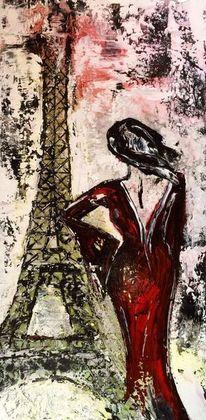 Eiffelturm, Blick, Figur, Frau