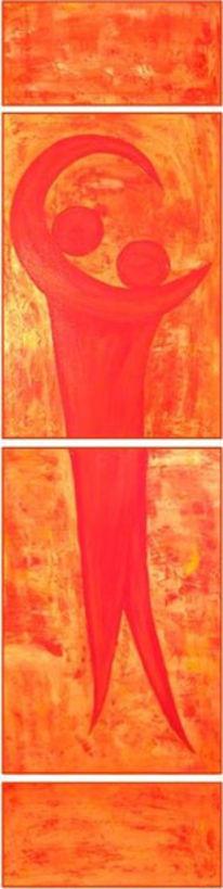 Rot, Abstrakt, Pfirsich, Malerei