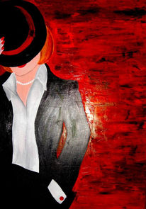 Frau, Rot, Hut, Malerei