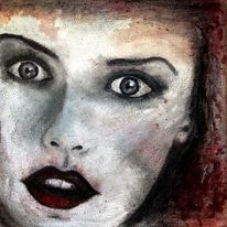 Blick, Rot schwarz, Frau, Malerei