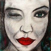 Frau, Grüne augen, Augenzwinkern, Malerei