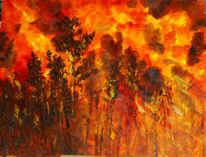 Naturgewalt, Waldbrand, Malerei