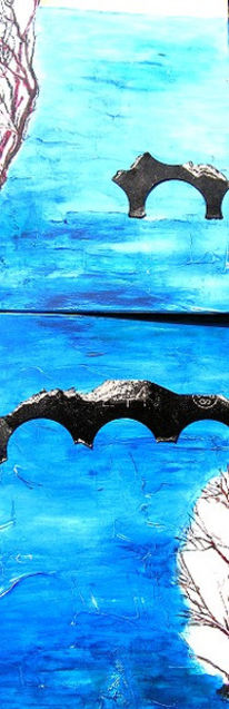 Karton, Collage, Brücke, Acrylmalerei