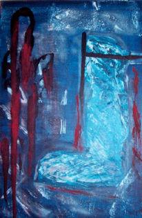 Acrylmalerei, Action painting, Blau, Spachtelstruktur