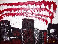 Rot schwarz, Struktur, Mischtechnik, Rouge