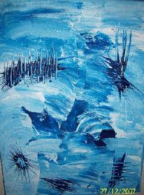 Blau, Weiß, Mischtechnik, Abstrakt