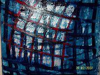 Abstrakt, Blau, Rot, Weiß