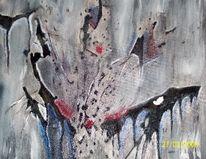 Acrylmalerei, Spachtel, Weiß, Rot schwarz