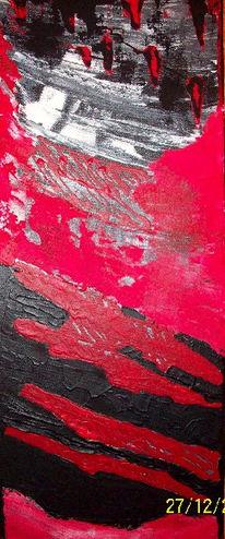 Abstrakt, Struktur, Rot schwarz, Mischtechnik