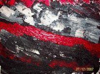 Mischtechnik, Abstrakt, Rot schwarz, Struktur