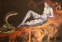 Ölmalerei, Akt, Gemälde, Bleistiftzeichnung