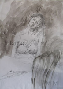 Portrait, Melancholie, Zeichnung, Allein