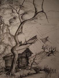 Tuschmalerei, Zeichnung, Bambusrohrzeichnung, Baum