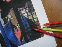 Malerei, Buntstiftzeichnung, Figural