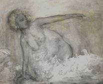Kohlezeichnung, Acrylmalerei, Figural, Akt