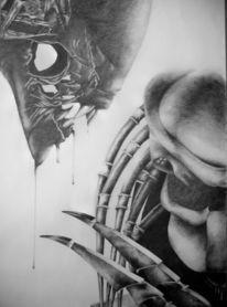 Bleistiftzeichnung, Zeichnung, Zeichnungen, Alien