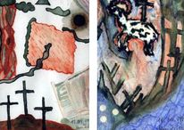 Religion, Abstrakt, Kreuzigung, Aquarellmalerei