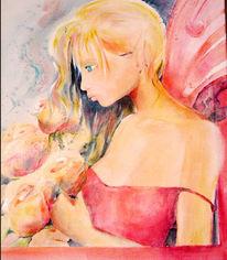 Mädchen, Rose, Figural, Malerei