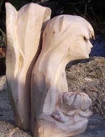 Figural, Rose, Holz, Skulptur