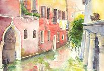 Malerei, Kanal, Venedig, Taube