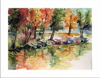 See, Landschaft, Malerei, Boot