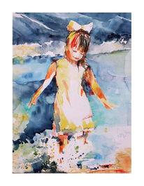 Meer, Strand, Mädchen, Aquarellmalerei