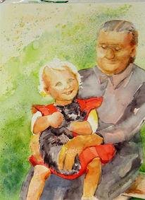 Kindheit, Malerei, Katze, Tiere