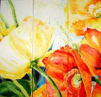 Malerei, Gelb, Acrylmalerei, Rot